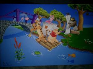 Tableau peint winnie l'ourson sur un radeau