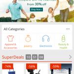 page d accueil de l application Aliexpress