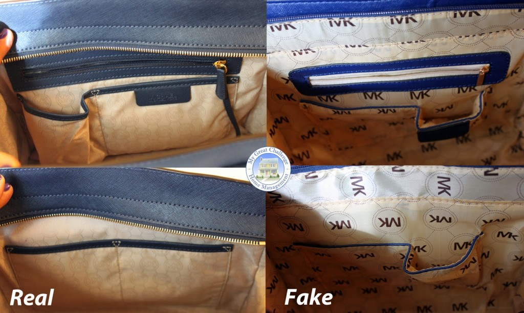 interieur vrai sac et imitation de mickael kors selma