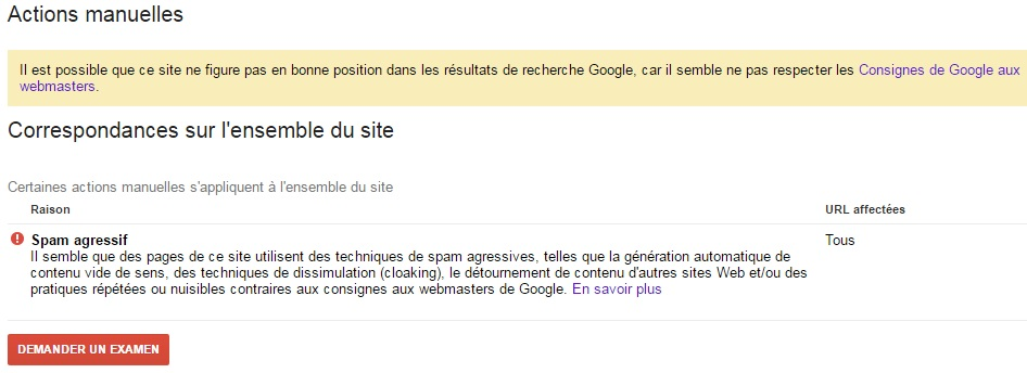 Google search console GWT action manuelle spam agressif