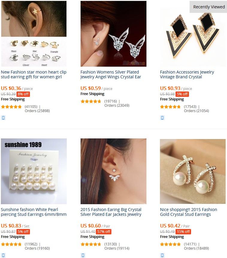 boucles d'oreille les plus vendus sur aliexpress