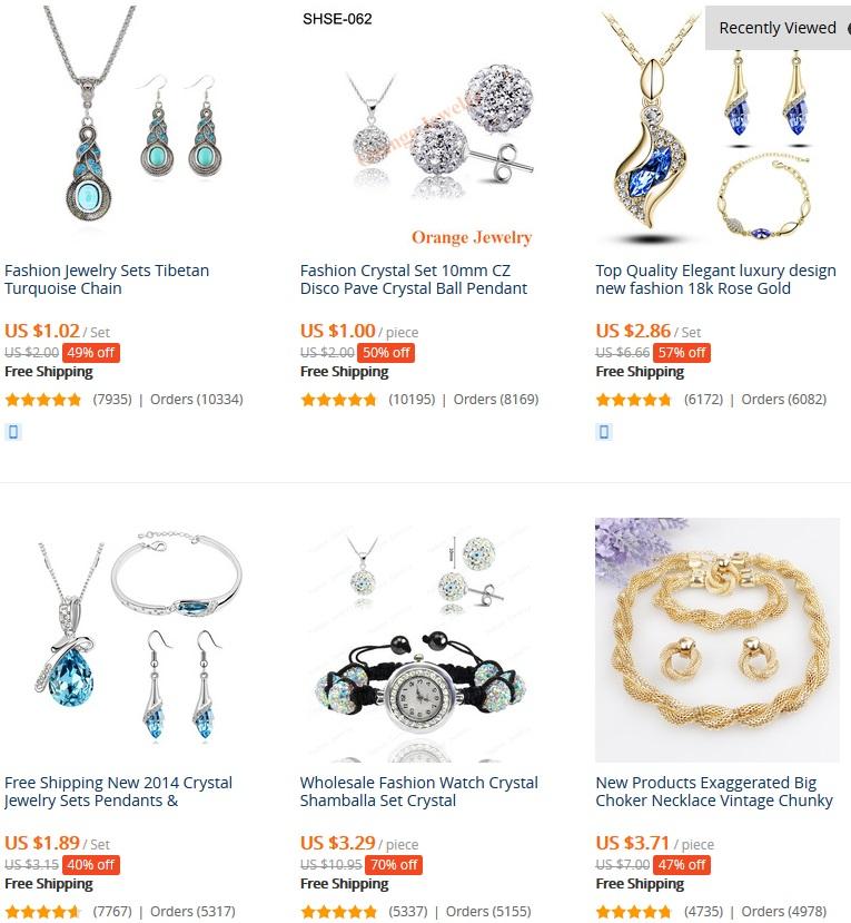 ensemble de bijoux les plus vendus sur aliexpress