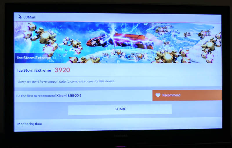 Test Xiaomi Mi Box 4K - Benchmark 3dmark ice storm 3920 points