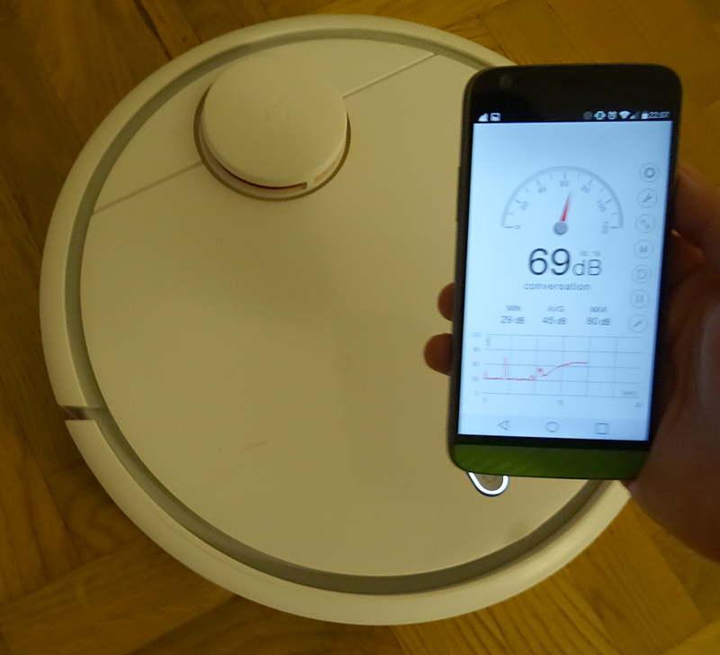 Xiaomi Mi Robot - volume sonore en décibels