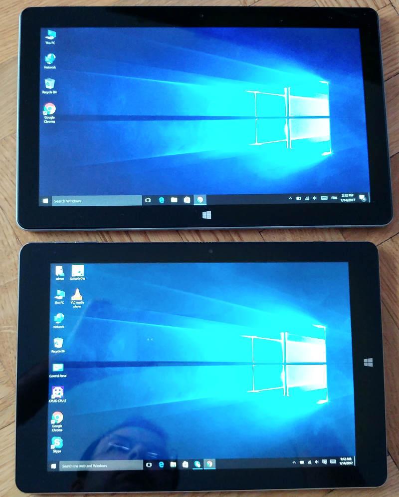 Jumper EZpad 6 11.6 pouces - comparaison taille écran avec chuwi hi10 plus 10.1 pouces