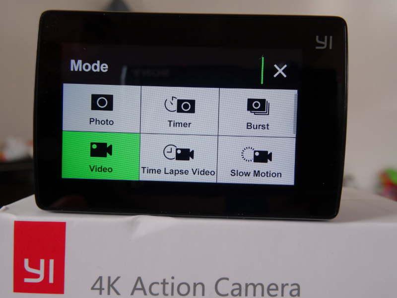 Test Xiaomi Yi Cam 4K - menu de sélection des fonctionnlités de la caméra