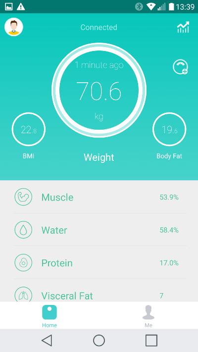 Yunmai Mini Smart Fat Scale - application poids
