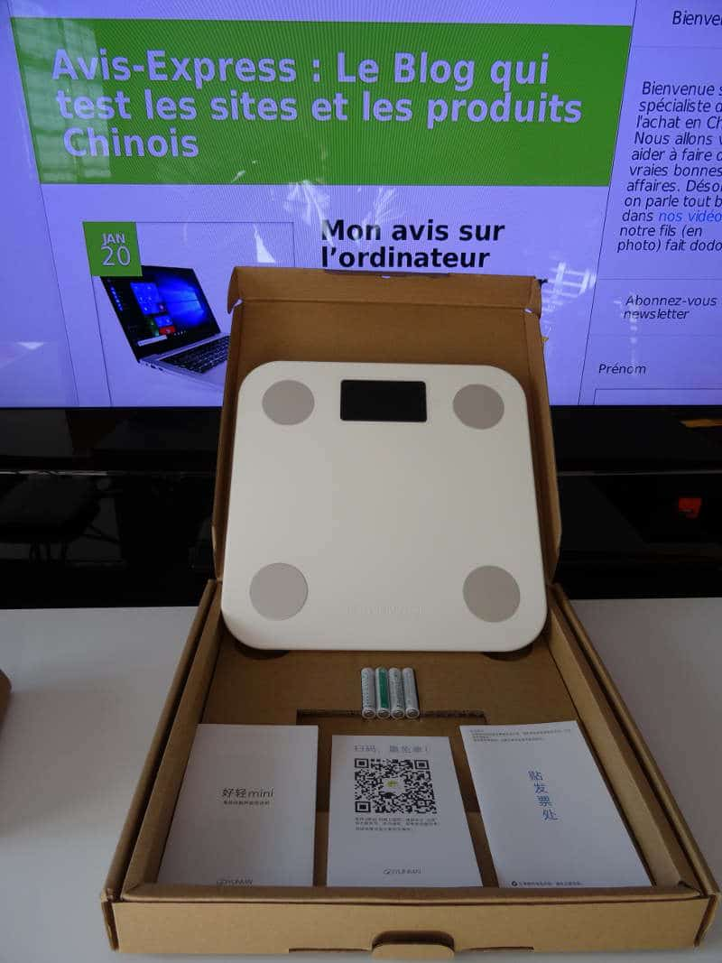 Yunmai Mini Smart Fat Scale - boite déballage piles notice