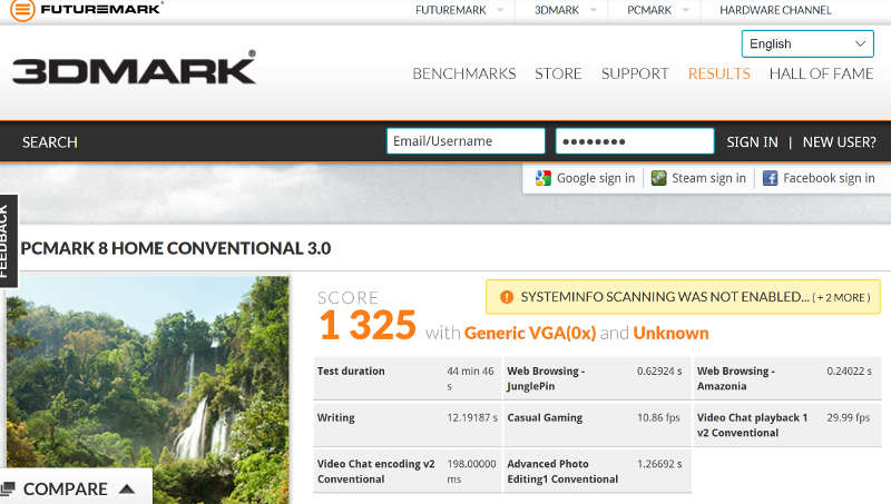 chuwi hi13 benchmark pcmark 8 score