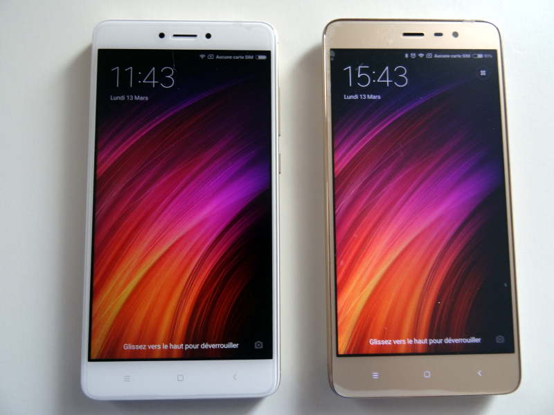 Comparaison xiaomi redmi note 3 pro et redmi Note 4X - écrans allumés