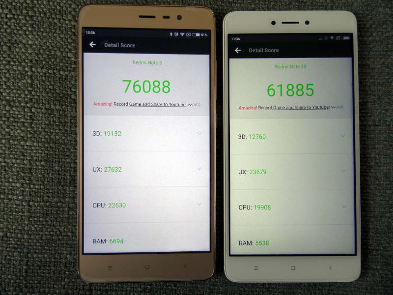 Comparaison xiaomi redmi note 3 pro et redmi Note 4X -antutu
