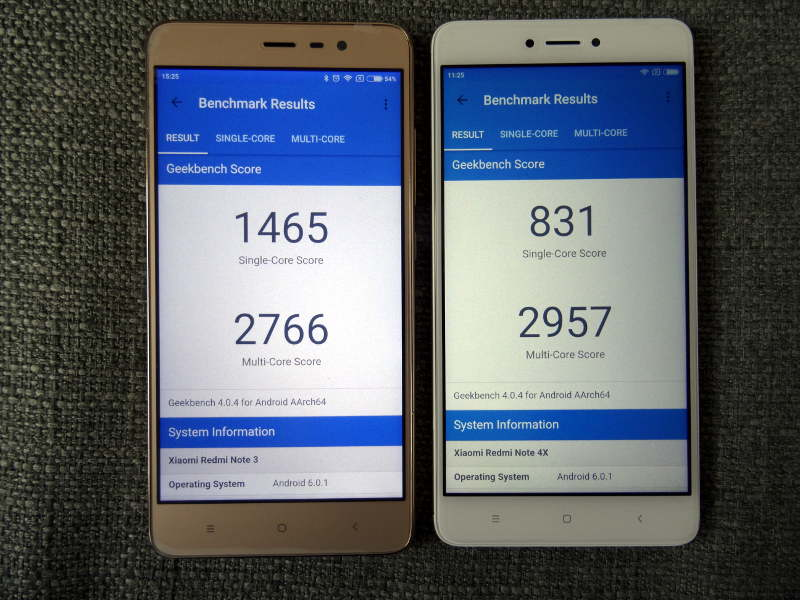 Comparaison xiaomi redmi note 3 pro et redmi Note 4X - geekbench