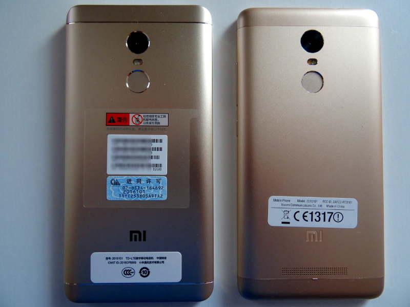 Comparaison xiaomi redmi note 3 pro et redmi Note 4X - vue de derrière capteur photo et empruntes digitales