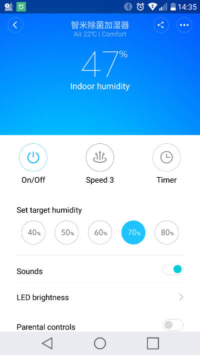 fonctionnalités de l'humidificateur d'air ultrasonic de xiaomi sur l'app mi home