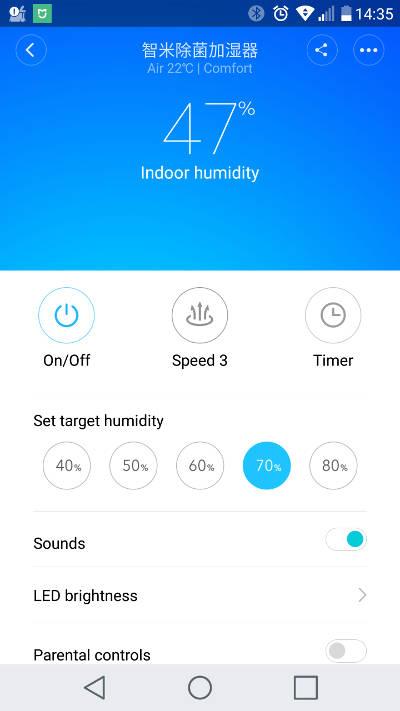 fonctionnalités de l'humidificateur d'air ultrasonic de xiaomi sur l'app mi home