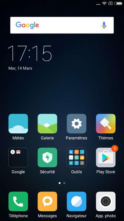 xiaomi redmi note 4X - Miui 8.1 écran d'accueil