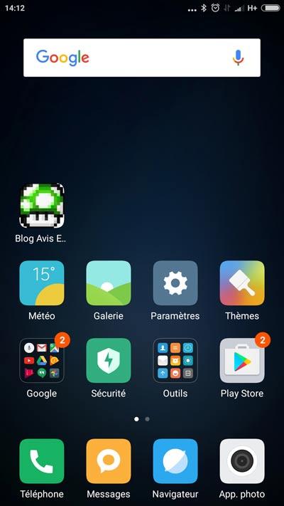 Test Xiaomi Mi5 - MIUI 8 écran d'accueil
