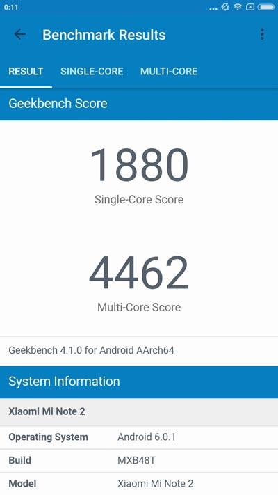 Xiaomi mi note 2 résultat geekbench 4