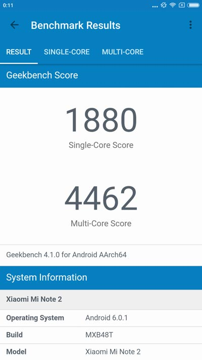 Xiaomi mi note 2 result geekbench 4