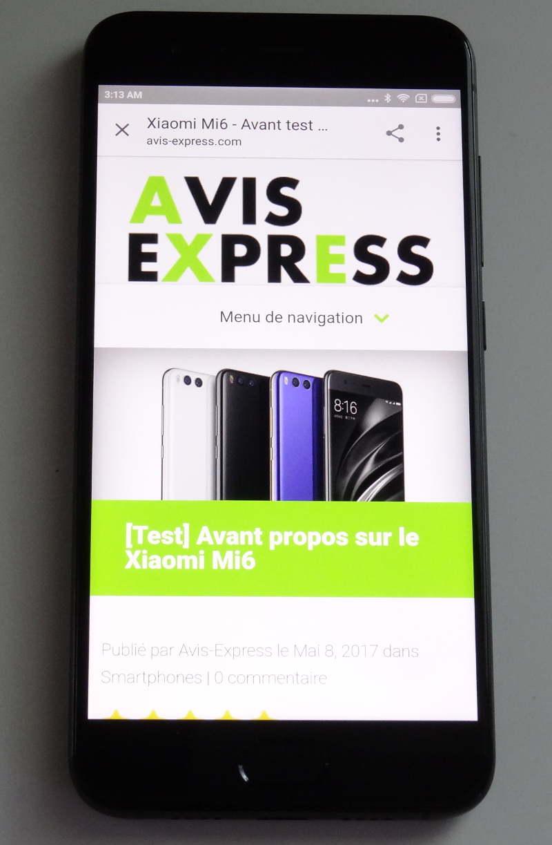 Test Xiaomi Mi6 - écran