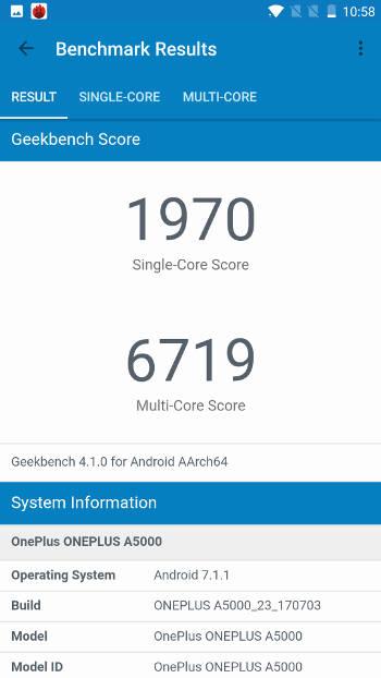 Benchmark OnePlus 5 - GeekBench