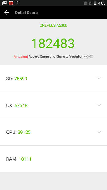 Benchmark OnePlus 5 - score Antutu 182000 points