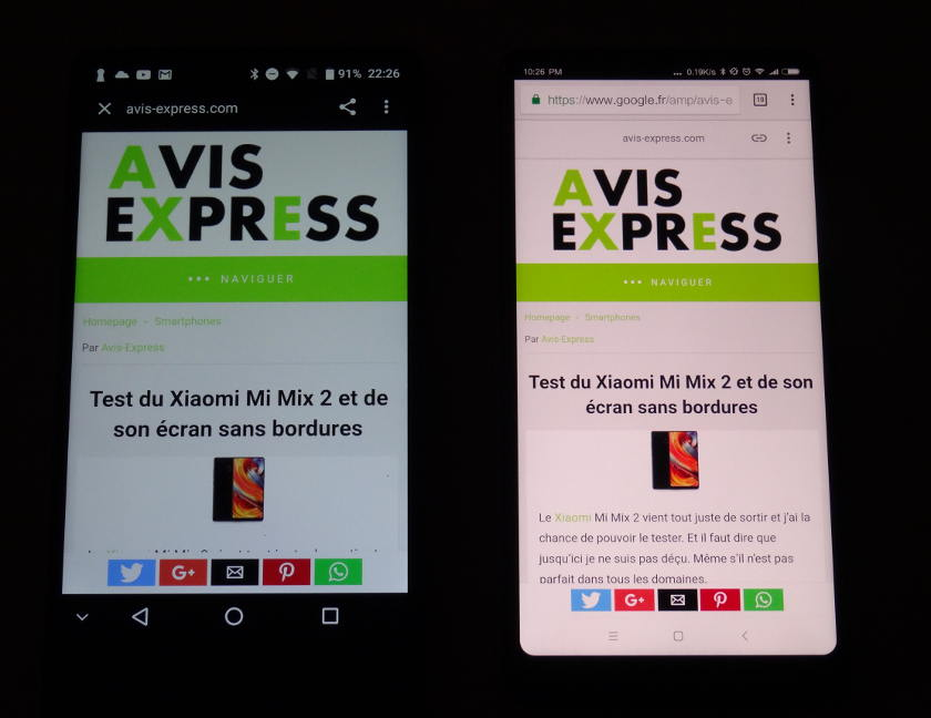 Xiaomi Mi Mix 2 VS Maze Alpha ecran