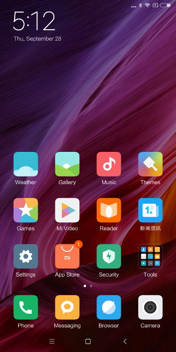 Xiaomi Mi Mix 2 - ecran accueil systeme exploitation miui chinois