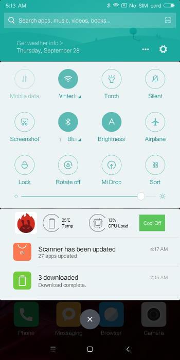 Xiaomi Mi Mix 2 - raccourcis