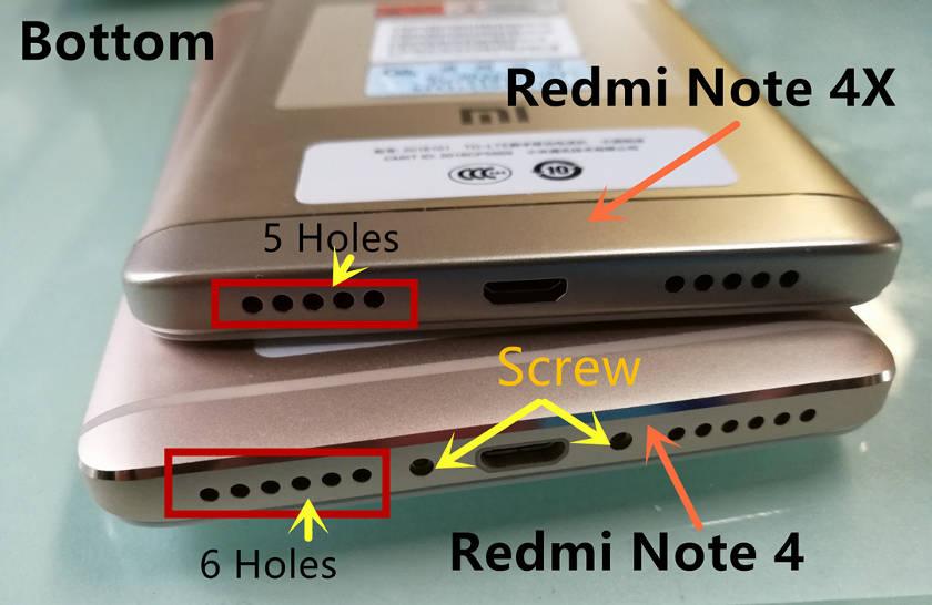 redminote4x-vs-note4 dessous haut parleur micro usb