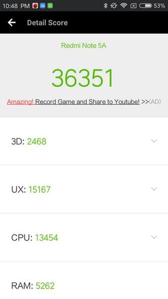 Xiaomi Redmi Note 5A - score benchmark antutu