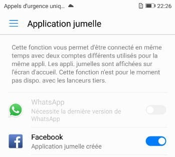Huawei P10 applications jumelles