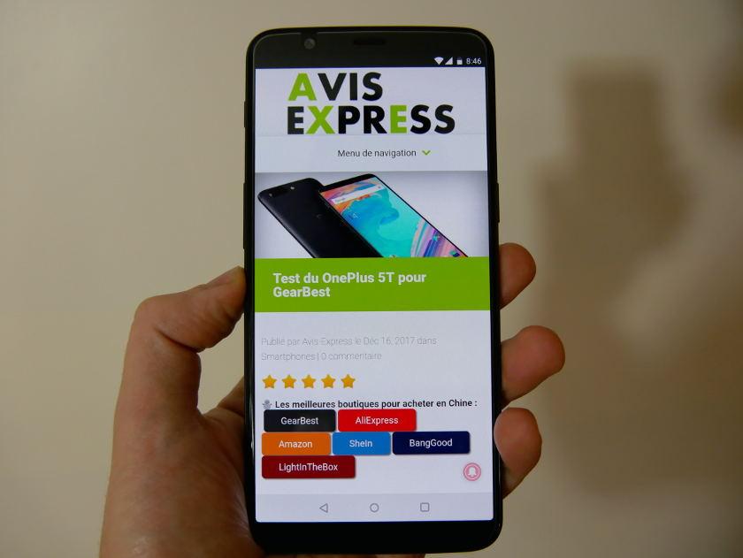Test OnePlus 5T affichage ecran
