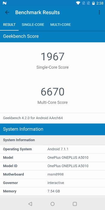 Test OnePlus 5T score geekbench 4