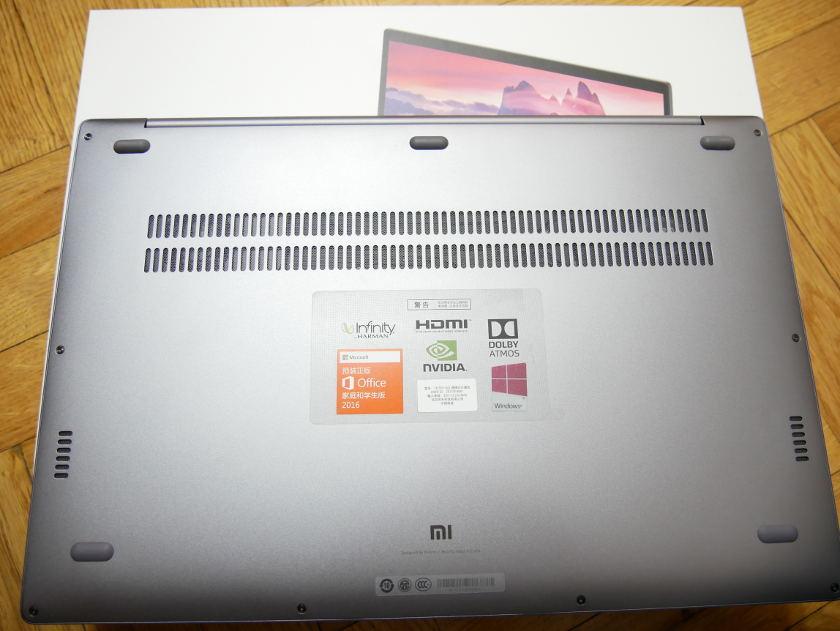 Test Xiaomi Mi Notebook Pro enceinte aération arrière pc portable