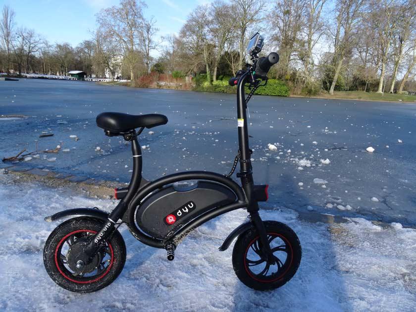 F-wheel DYU D1 test velo electrique circulation sur neige
