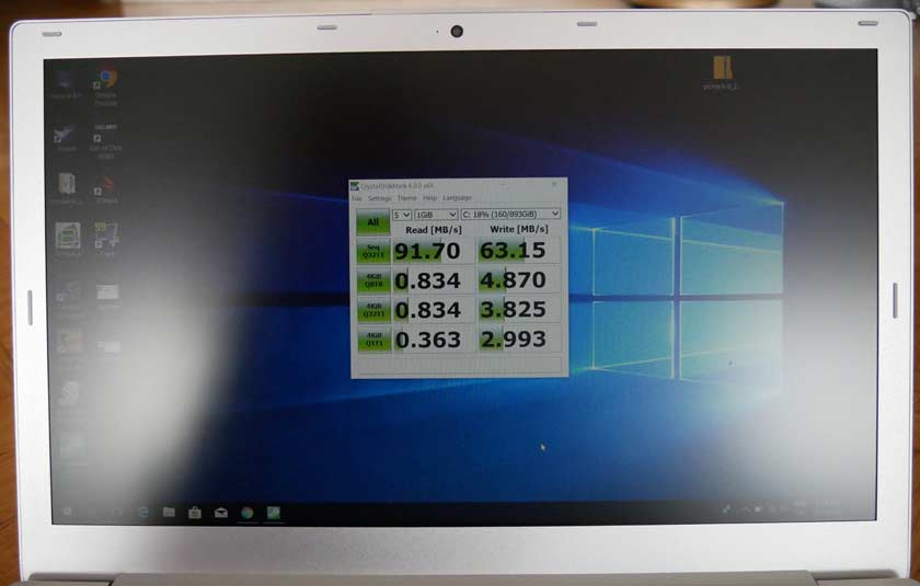 Voyo i7 test benchmark disque dur crystal mark