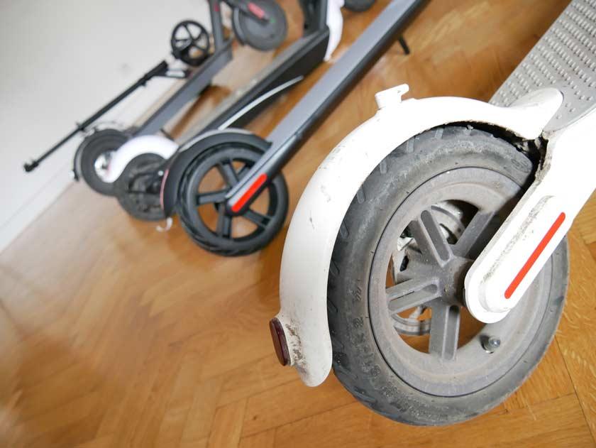 comparatif conception xiaomi m365 m187 euni es808 segway ninebot es1 pneus gonflés ou pneus pleins