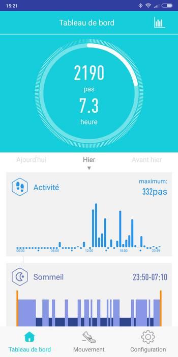 earband V08 application graphique santé physique nombre de pas