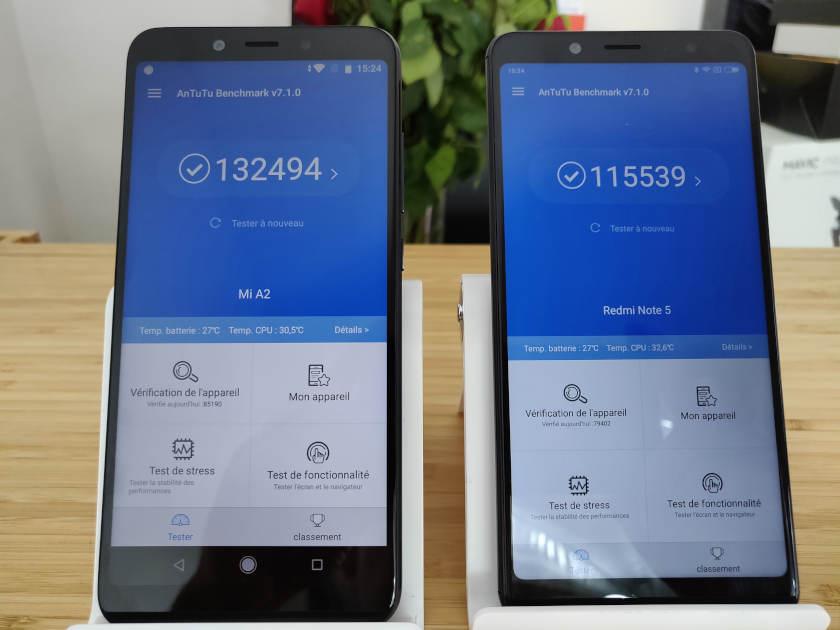 Xiaomi redmi note 5 VS Xiaomi Mi A2 antutu benchmark